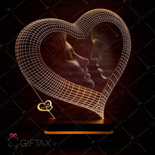 بالبینگ سه بعدی چهره گیفتکس طرح قلب  چراغ خوابی با عکس شما